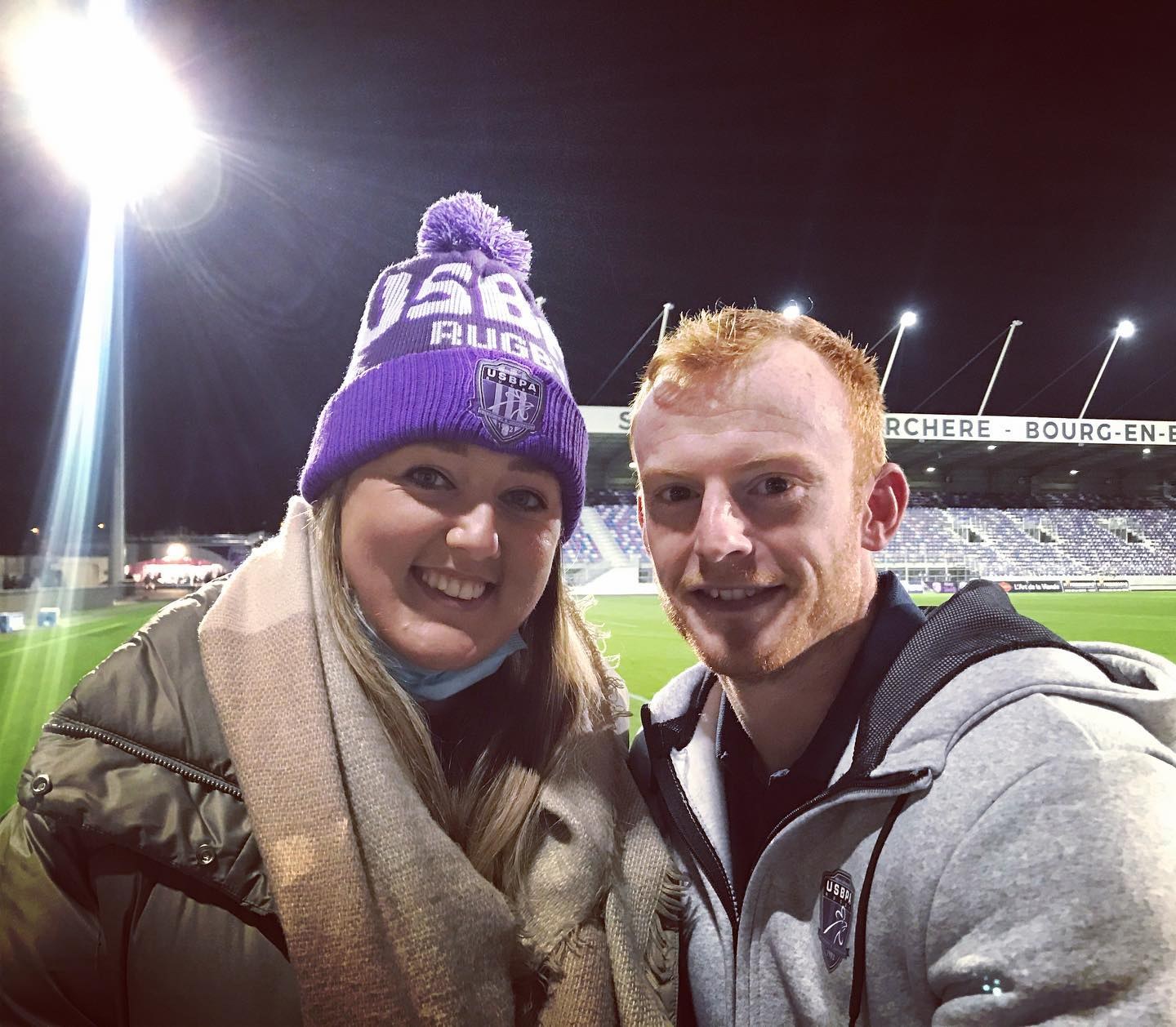 Peter Nelson with girlfriend Laura after the game in France.
